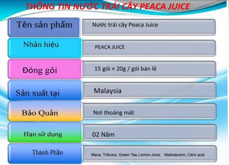 Thông tin Peaca Juice qua hình ảnh chính hãng